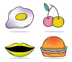 Conjunto de desenhos animados de pop art vetor