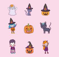 Jogo, de, dia das bruxas, desenhos animados vetor