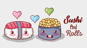Sushi e rolos bonitos desenhos animados de kawaii vetor