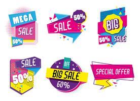 Conjunto de cartaz de compras de grande venda vetor