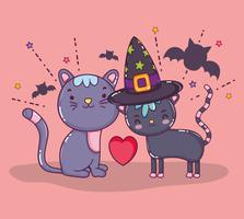Desenhos de gato de halloween vetor