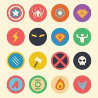 ícones planas de super-herói vetor