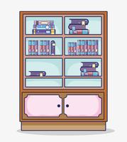 Desenhos animados de biblioteca de madeira