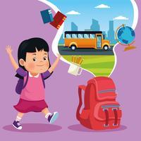 De volta aos desenhos animados das crianças da escola