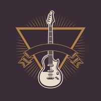 Emblema vintage de rock and roll com desenhos vetor