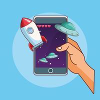 Desenhos de jogos de smartphone vetor
