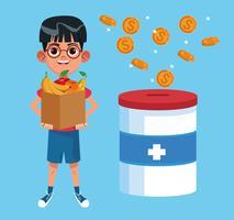 Desenhos animados de caridade de doação de criança vetor