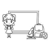 aluna bonito com placa e suprimentos escola vetor