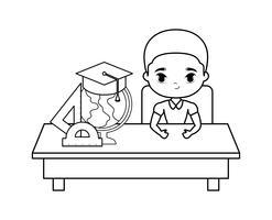 menino estudante sentado na mesa da escola com suprimentos de educação vetor