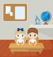 pequenos estudantes na cena da sala de aula vetor