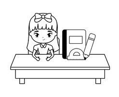 aluna sentado na mesa da escola com educação suprimentos vetor