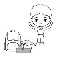 menino pequeno estudante com escola de suprimentos vetor