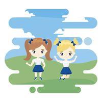 cute little student girls celebrando na cena da paisagem vetor