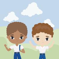 cute little student kids em cena de paisagem vetor