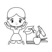 menina bonito estudante com escola de suprimentos vetor