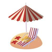 praia de areia de verão com guarda-chuva e cadeira vetor