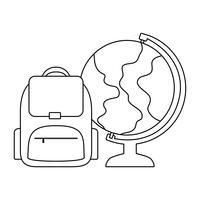 globo terrestre com saco de escola vetor