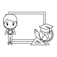 menino bonitinho estudante com placa e suprimentos escola vetor