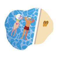 jovem casal com maiô flutuando na piscina vetor
