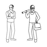 Construtor Construtor masculino com chefe arquiteto