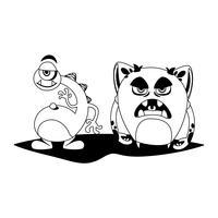 Monstros engraçados casal personagens em quadrinhos monocromático