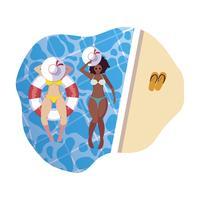 meninas inter-raciais com maiô e salva-vidas flutuar na água