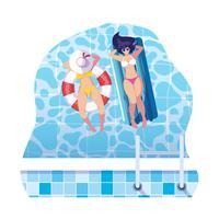 meninas com maiô em salva-vidas e colchão flutua na água