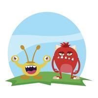 casal engraçado monstros no campo personagens coloridos