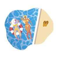 meninas com maiô e salva-vidas flutuam na água
