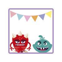 moldura quadrada com monstros engraçados e guirlandas penduradas