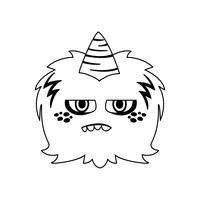 monstro engraçado com personagem cômico de chifre vetor