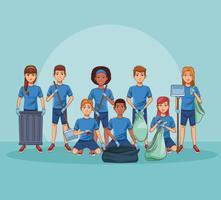 Voluntários de limpeza do parque