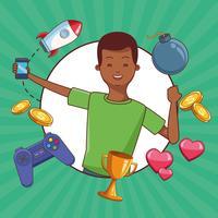 Adolescentes e jogos de smartphone vetor