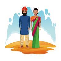 casal indiano dos desenhos animados da Índia vetor