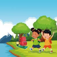 crianças na viagem de campo da escola