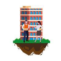 Construtor Construtor masculino com mulher engenheiro e construção