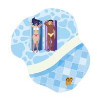 casal interracial com colchão flutuante na água