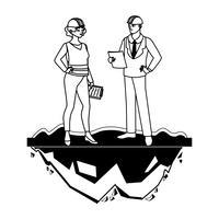 casal de engenheiros construtores trabalhadores personagens vetor