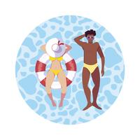 casal interracial com maiô flutuando na água vetor