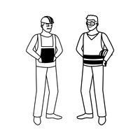 construtores masculinos construtores personagens de trabalhadores vetor