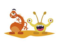 engraçado monstros casal personagens em quadrinhos coloridos