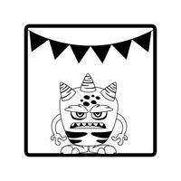 moldura quadrada com guirlandas de festa do monstro e chifres