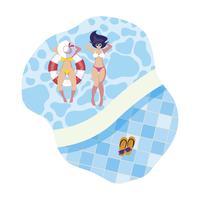 meninas com maiô e salva-vidas flutuam na piscina