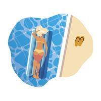 mulher de bronzeamento em colchão flutuante flutuando na água vetor