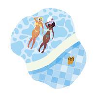 meninas inter-raciais casal com trajes de banho flutuando na piscina