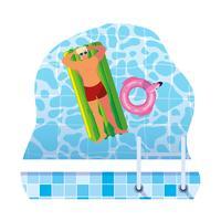 jovem com maiô e colchão flutuante na água vetor