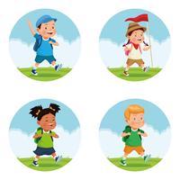 crianças na viagem de campo da escola vetor