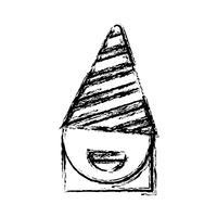 menina com ícone de chapéu de festa vetor