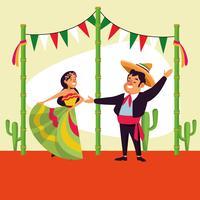Desenhos animados do mexicano cinco de mayo vetor
