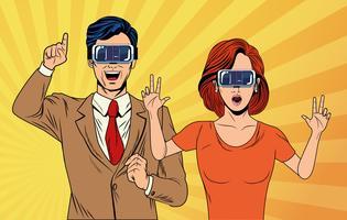 casal de arte pop usando óculos de realidade virtual